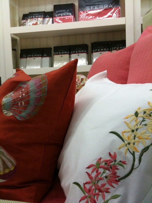 Red pillows in Opulence in Cary