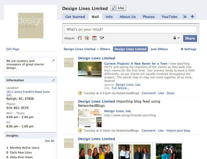Design Lines Facebook Page Screenshot