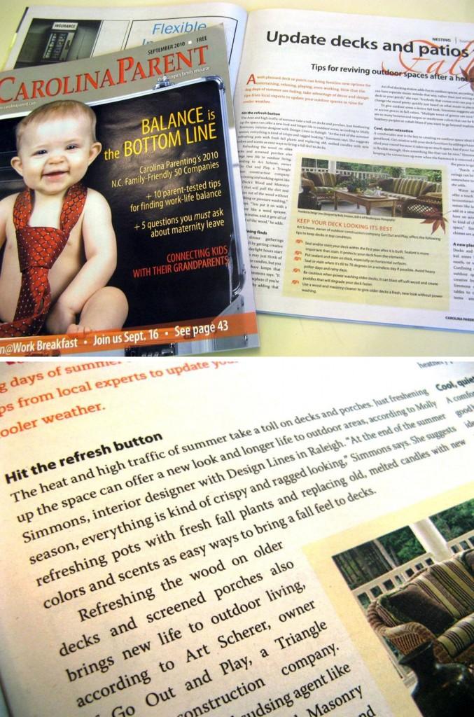 Design Lines Carolina Parent Sept 2010