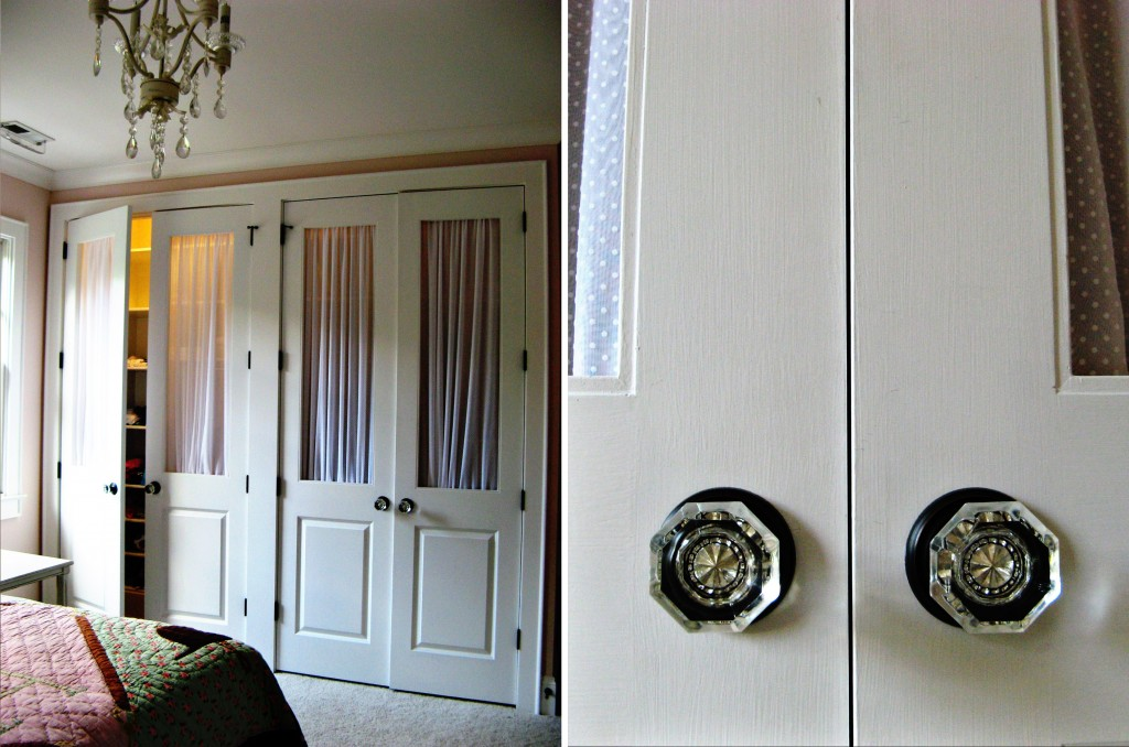 Girls Bedroom Closet doors sheers crystal knobs