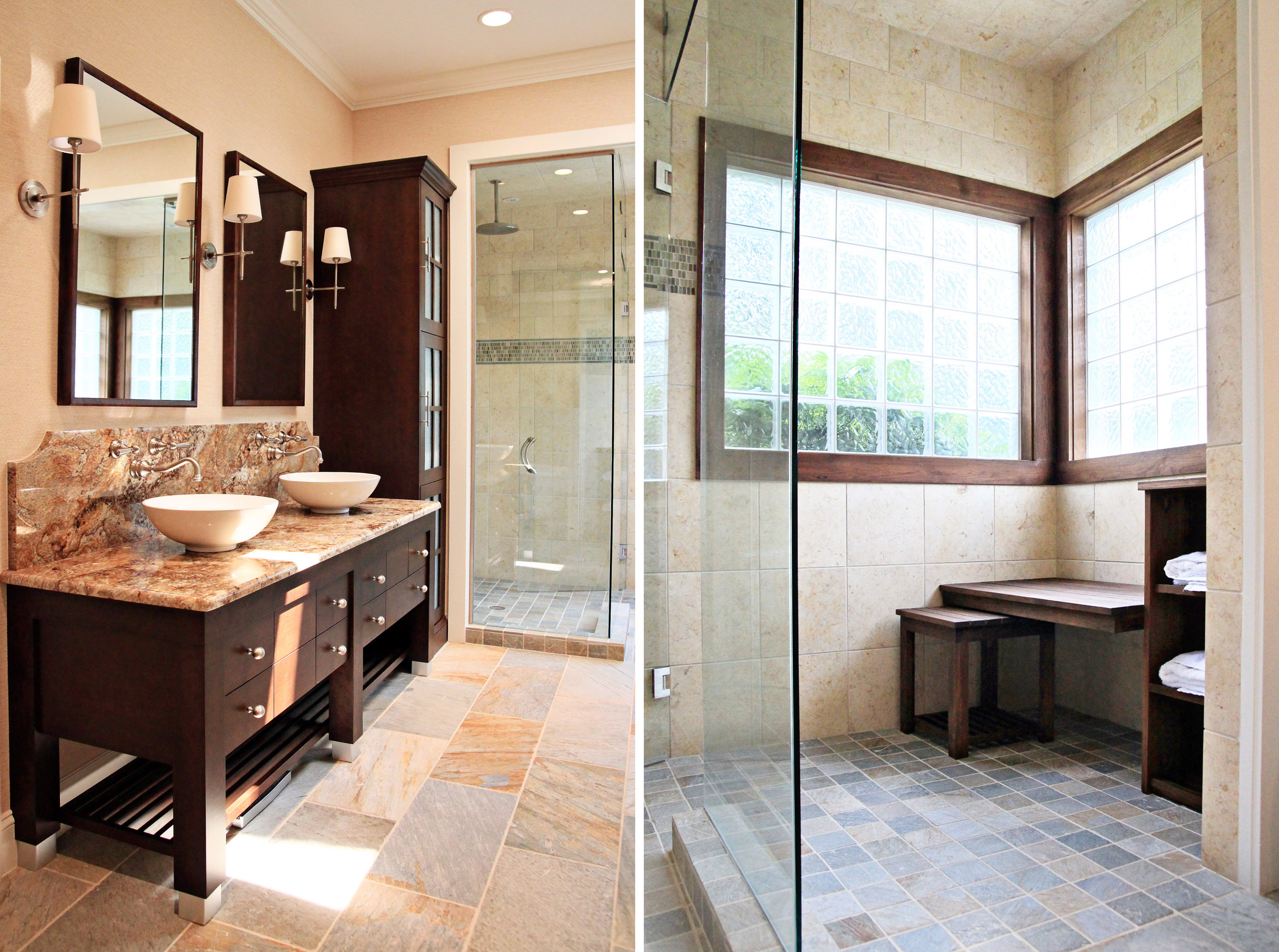 master bath spa retreat slate tile teak | design lines, ltd.