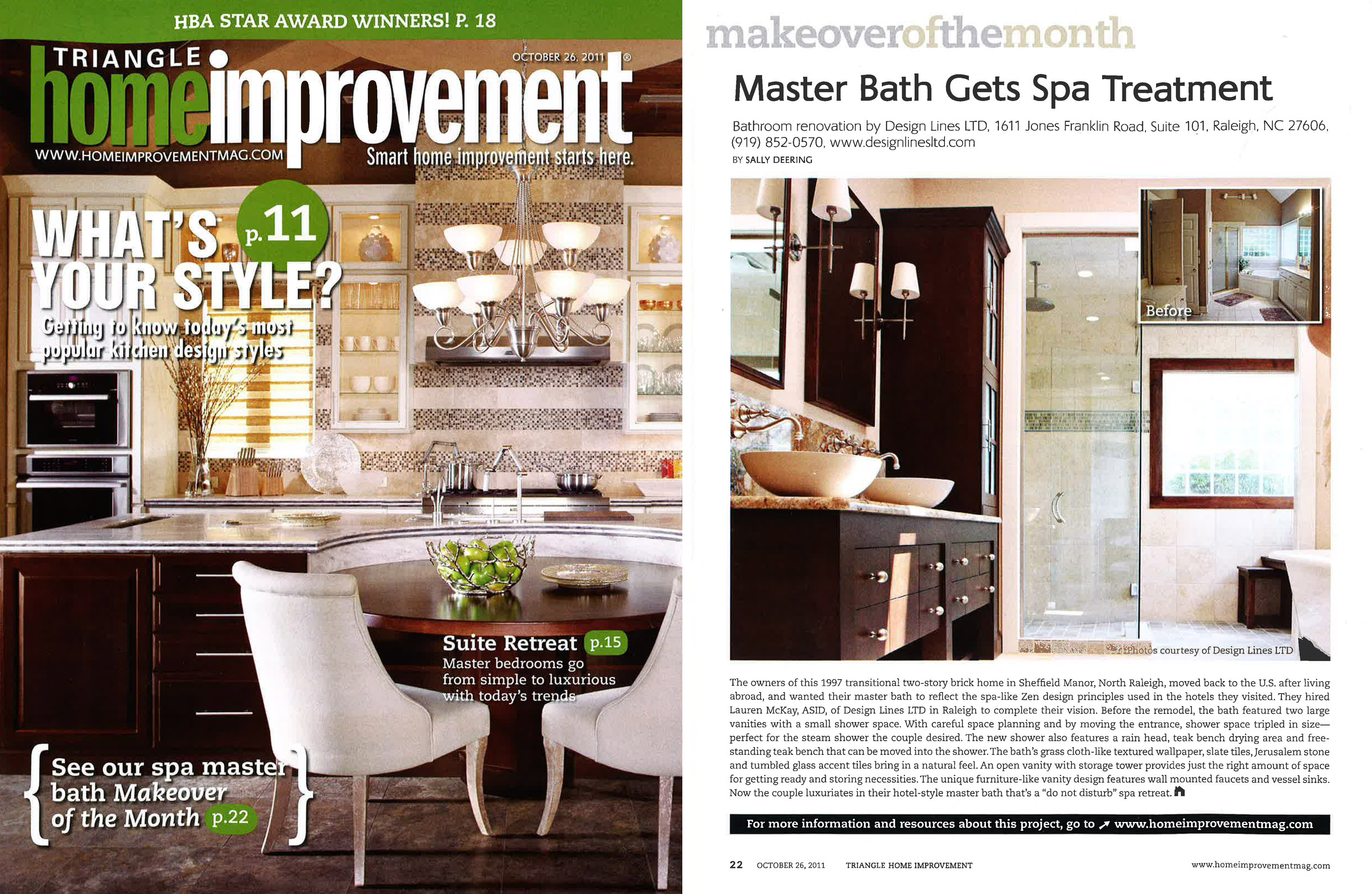 Bathroom Makeover Magazine triangle home improvement magazine lauren mckay master bathroom