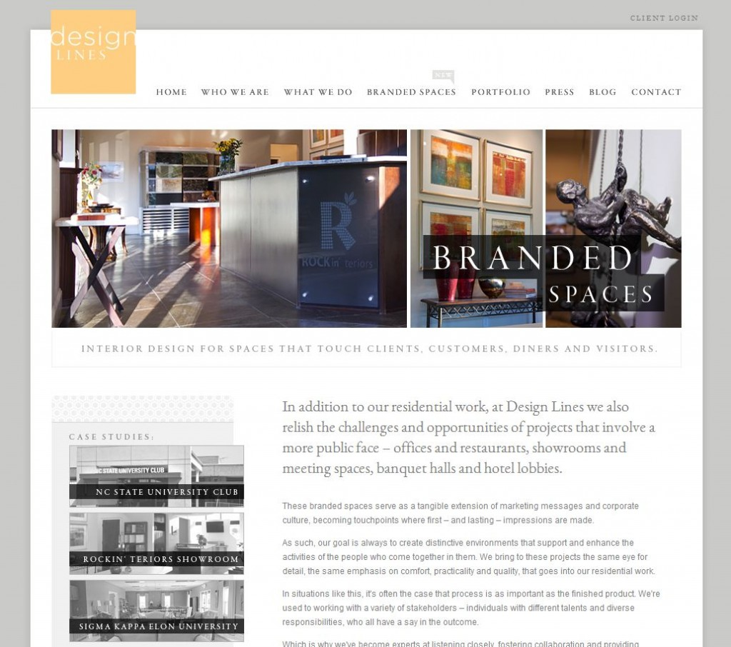 Branded Spaces Design Lines Website New Section Commercial Clients Raleigh Interior Design