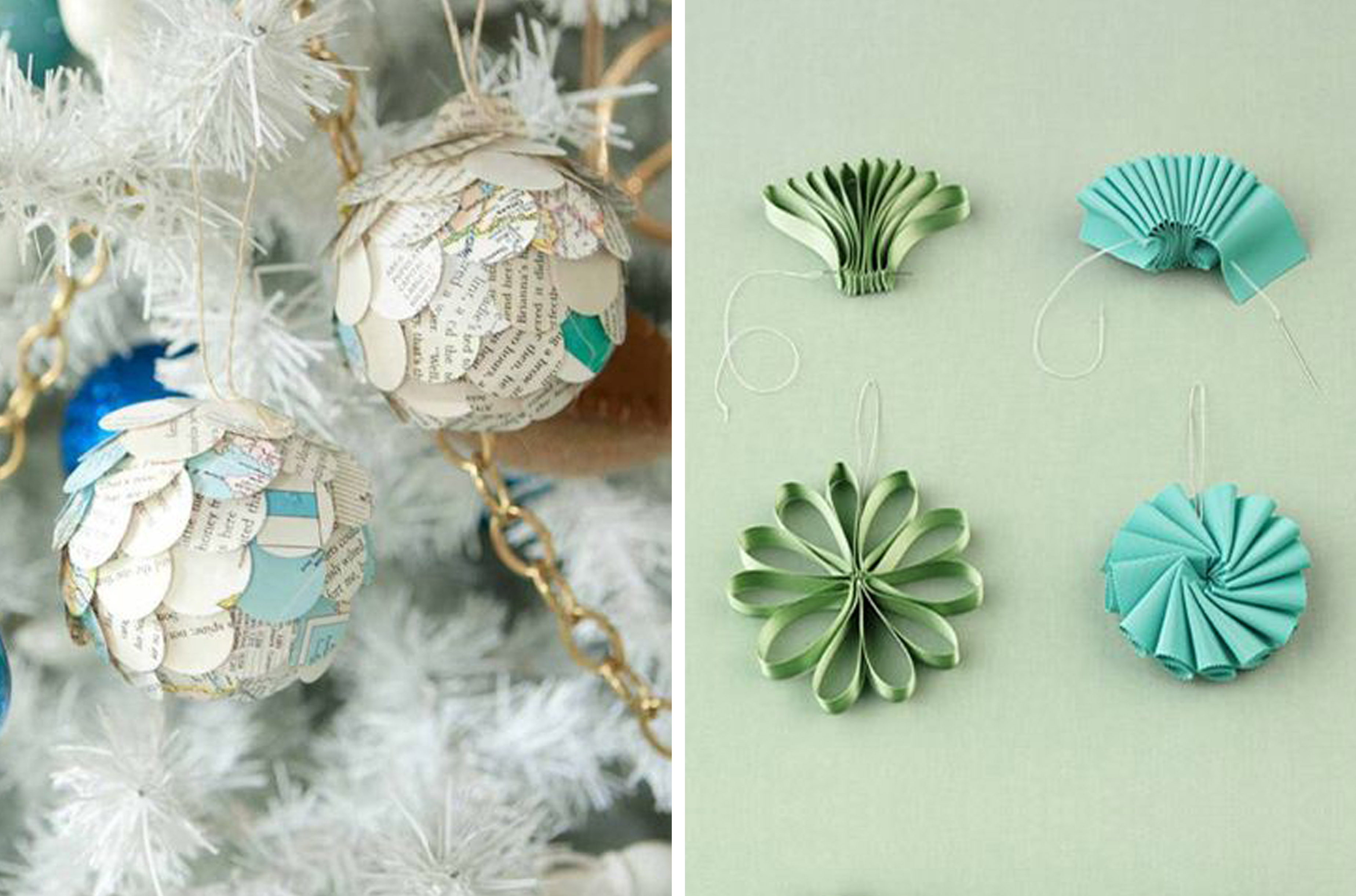 Tree DIY Ribbon Paper Ornaments
