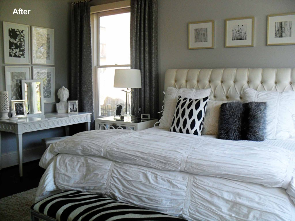 Current project transforming a neutral master bedroom Black white and grey bedroom designs