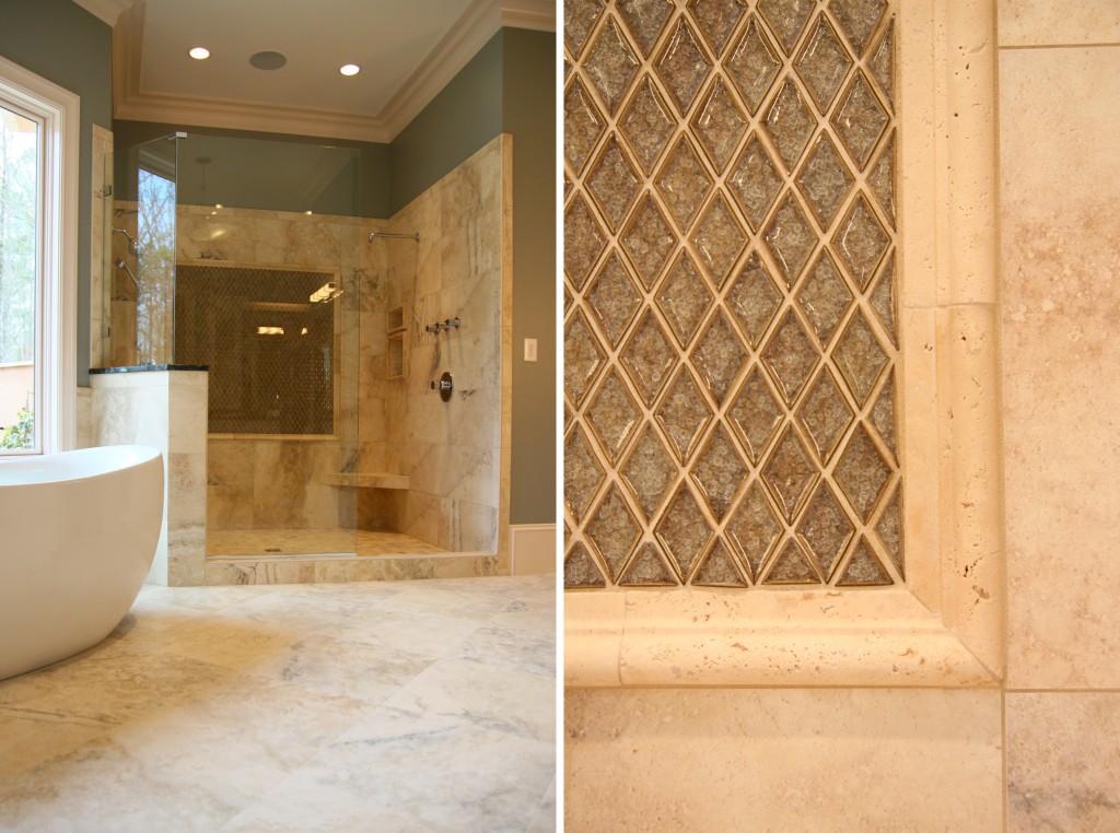 design lines blog master bathroom tub and shower tile detail glass tile stone - Bathroom Glass Tile Tub